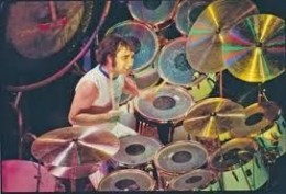 "Keith Moon---died 1978--- A Rock & Roll Hall of Fame Inductee. Backing up ""The Who"" with fantastic and sometimes frantic beats and known for destroying his set at the end of the show."