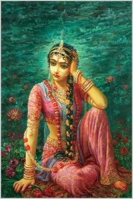 """Manini Radha""Separated from Krishna and upset with him at the same time, Radha weeps."