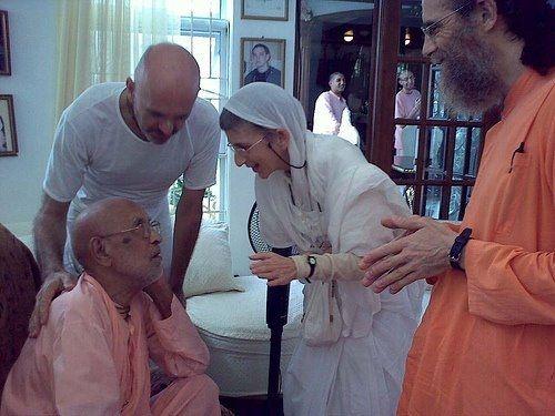 "Syamarani didi with her spiritual teacher, ""Srila Gurudeva"", Srila Bhaktivedanta Narayana Maharaja"