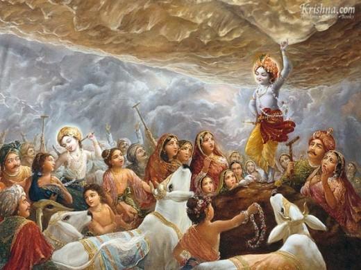 """Krishna Lifts Govardhana Hill""Copyright The Bhaktivedanta Book Trust International, Inc."