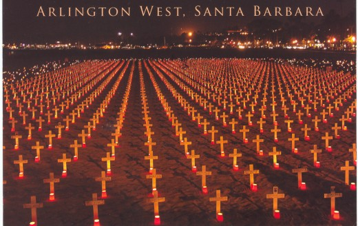 This monument to the fallen in Iraq and Afghanistan is on West Beach in Santa Barbara. Each cross representing a war death.