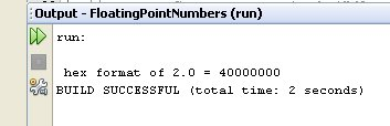 Figure 02 - The output of the code snippet in Figure 01: the bit pattern of a single precision IEEE 754 floating point number.