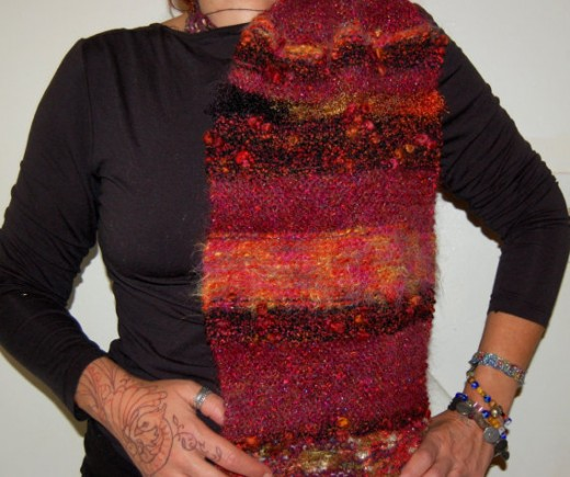 Italian Art Yarn Glitter Yarn Wide Thick Warm Wool Autumn Colors Knitted Scarf Shawl Scarflette