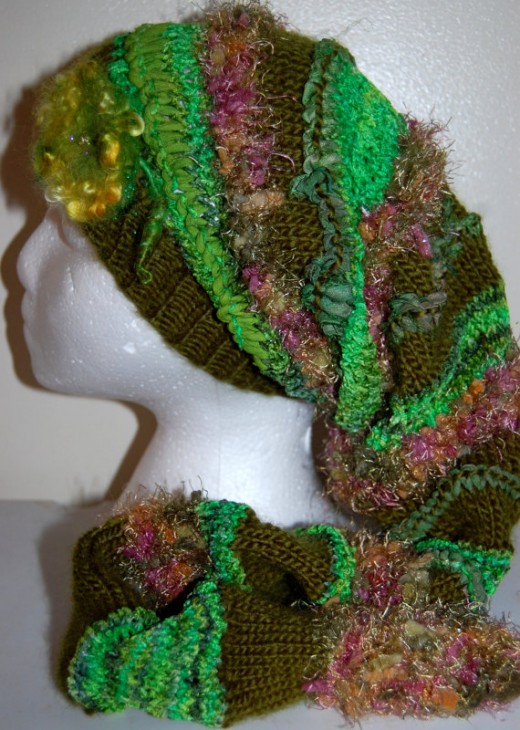 FAIRY DREAM Fantastic Freeform OOAK handmade knitted Art Yarns Fairy Dream Women's Rose and Leaves Hat
