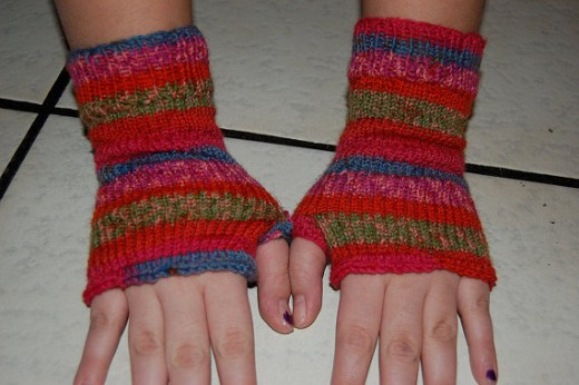Finger less hand knitted multicolored soft cozy Hippie Hand warmers gloves / small hands