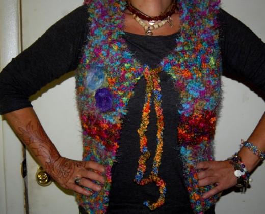 OOAK Rainbow Sparkle Rustic Knitted Felt Flowers Art Yarn Vest Hippie Gypsy Boho Size S-M