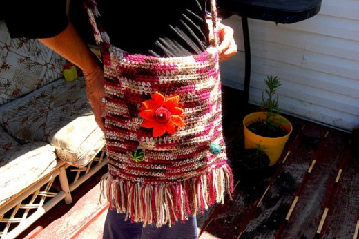70's style Tie dye colored Hippie Festival Gypsy colorful crochet Purse bag with fringes and felted flower and felt buttons
