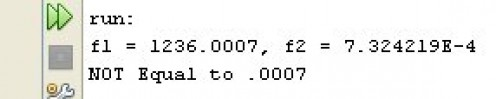 Figure 04 - The output of the code snippet in Figure 03. An illustration of floating point error.