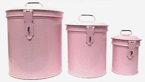 Vintage-style pink canister set.