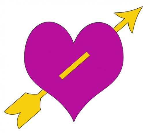 Yellow Arrow Through Purple Heart Clip Art
