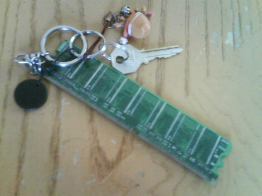 Make something useful. Here an old RAM module turned into a nice looking key chain