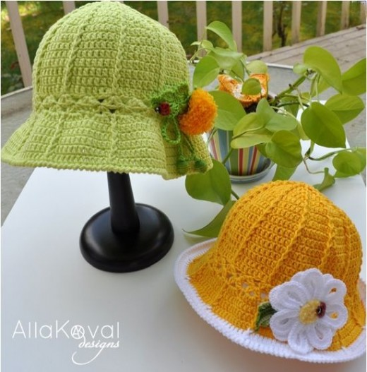 free garden party hats pattern by Alla Koval