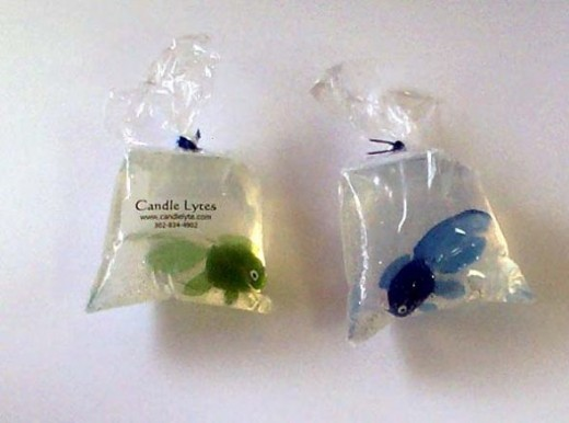 What a neat idea! Glycerin soap with vinyl goldfish embedded inside. You can find this soap and others like it at http://home.comcast.net/~candlelytes/bath_body.html