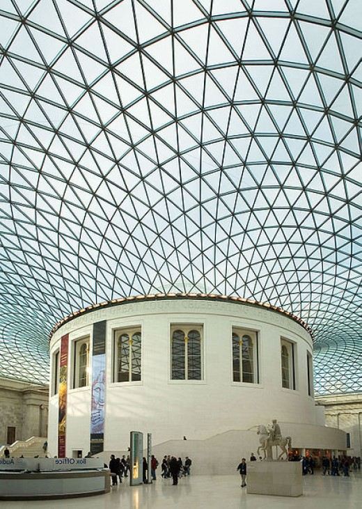 The Reading Room, and the new (2000) Great Court roof, at the British Museum