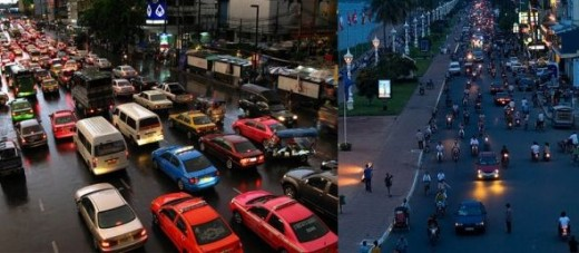 Bangkok vs. Phnom Penh Traffic