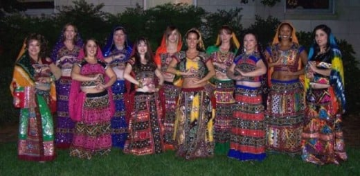 ladies wearing traditional ghaghra choli