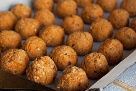 Tofu Miso Balls with tomato dipping sauce