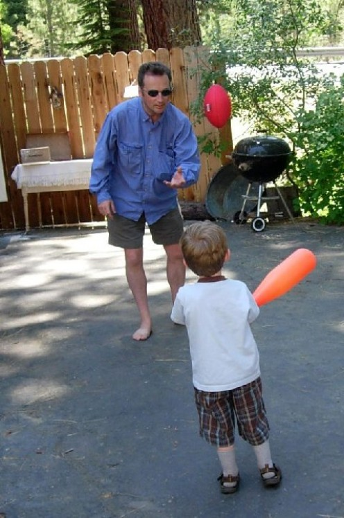 Playing catch with Daddy