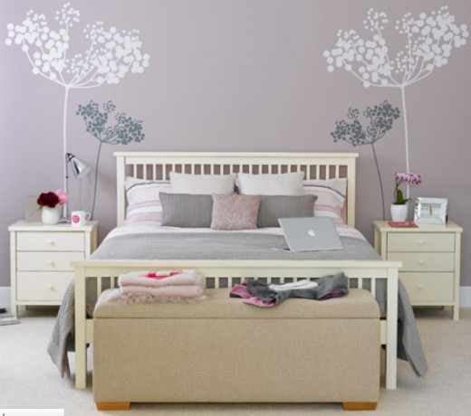 guest bedroom with wall murals