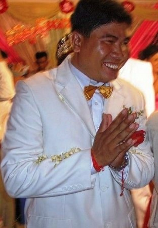 Cambodian Groom Greeting Guests