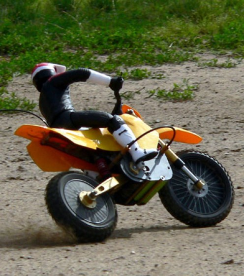 Escaping with shoes on an offroad bike.