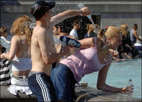 Water fights during school holidays.