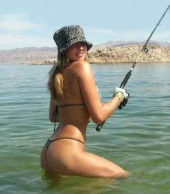 Spending summer holidays catching fish.