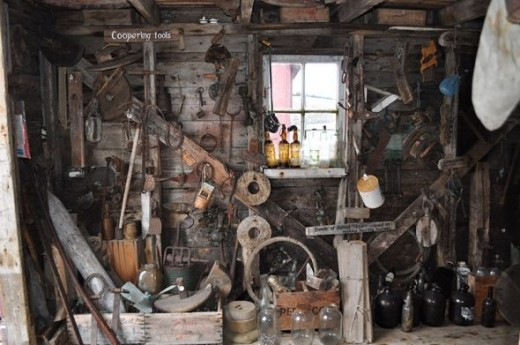 A room with a collection of coopering tools.