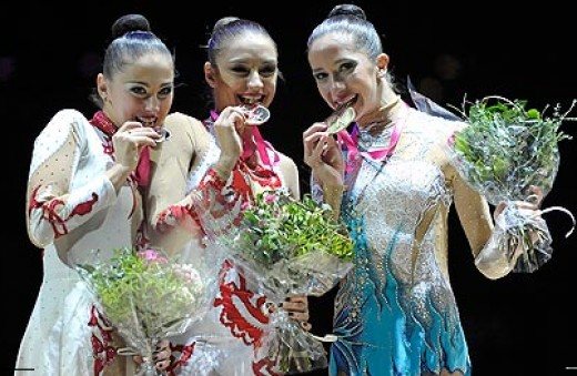 Neta is awarded third place in her hoop routine in 2011 Rhythmic Gymnastics World Championships in Montpellier, France