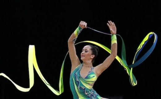 Rivkin performs her final ribbon routine which places her in 9th position and in the olympic all around final in London 2012