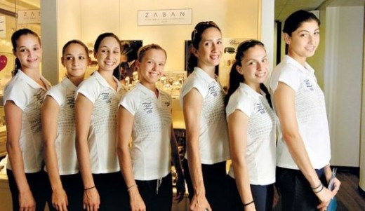 Rivkin and the Israeli group team smile and pose before they head off to compete in the london Olympics 2012