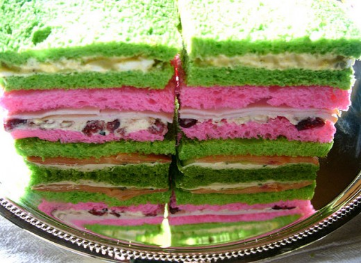 Check out these pink and green sandwiches!