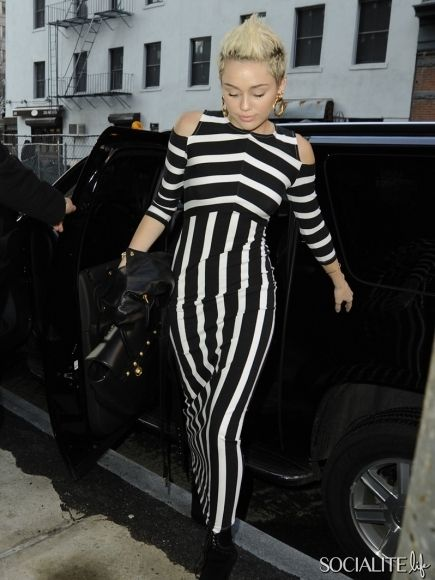 Miley Cyrus in Bold Striped Dress