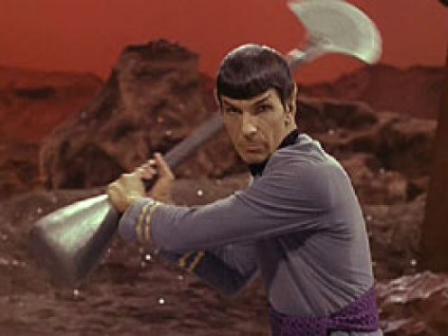 Spock attacks Kirk in Amok Time
