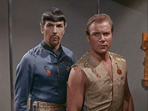 Spock and Kirk as their alter-egos in Mirror,Mirror