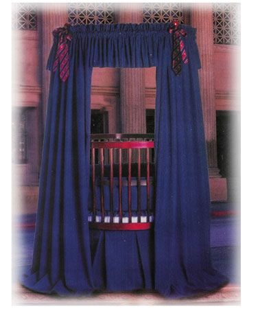 From the Little Miss Liberty Wall Street Collection...This is the Pinstripe Universal Canopy Set and it can be found at The Round Baby Crib Company... www.theroundbabycribcompany.com