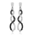 10k White Gold Black Diamond Infinity Earrings (1/4 cttw)