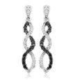 10k White Gold Black Diamond Infinity Earrings (1/4 cttw)