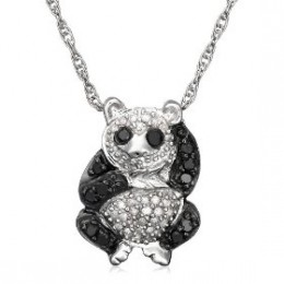 Sterling Silver 1/3 cttw Black and White Diamond Panda Pendant