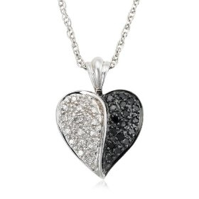 """Sterling Silver 1/4 cttw Black and White Diamond Heart Pendant, 18"""""""