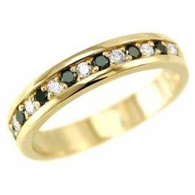 0.60ct Mens Fancy-Black and White Diamond Wedding Band Ring 14k Yellow Gold