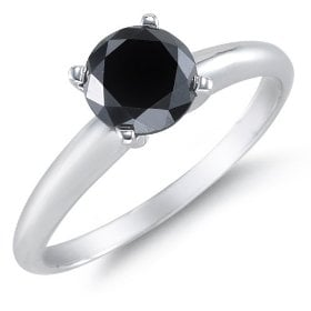 1 Carat Black Diamond Solitaire Ring