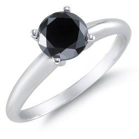 1 Carat Black Diamond Solitaire Ring