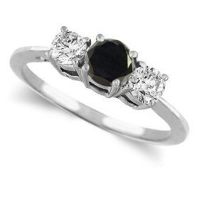 Platinum Round 3 Stone Black Diamond & White Diamond Wedding Ring (1/2 ctw)
