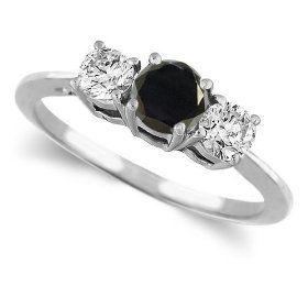 Platinum Round 3 Stone Black Diamond & White Diamond Wedding Ring (1/2 ctw)