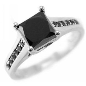 2.00ct Princess-Cut Black Diamond Engagement Ring 14k White Gold