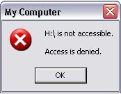 "The affected pen drive show the message ""Access is denied."""