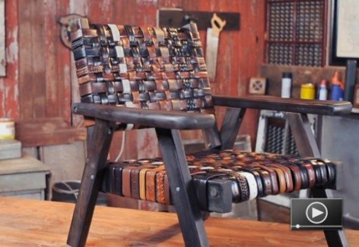 A Chair Made Out of Belts