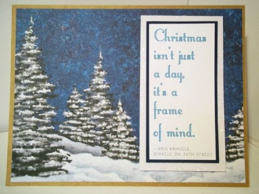 A card made using the Creative Keepsakes 25 Holiday Quotes free scrapbooking printable, December 2011