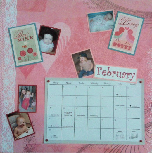 These embellishments and photos with pink clothes worked perfectly for FEBRUARY.